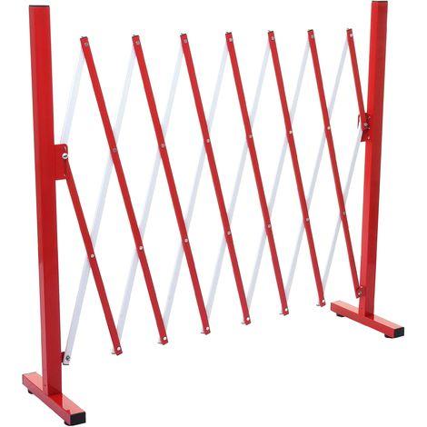 Grillage HHG-374, grille protectrice télescopique, aluminium rouge/blanc