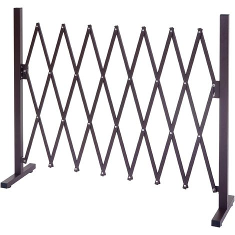 Grillage HHG-930, grille protectrice télescopique, aluminium marron ~ hauteur 153cm, largeur 32-265cm