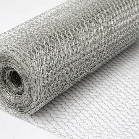 Grillage Métallique pour Cloture | Maillage Hexagonal : 13x13mm | Longueur 25m | Hauteur 100cm | Clôture pour animaux et plantes | Galvanisé 0.9mm