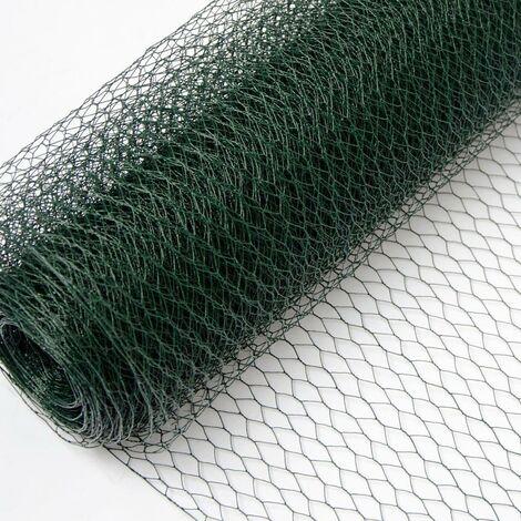 Grillage Métallique pour Cloture | Maillage Hexagonal 13x13mm | Longueur 25m | Hauteur 50cm | Clôture pour animaux et plantes | 0.8mm avec Couche en PVC Verte