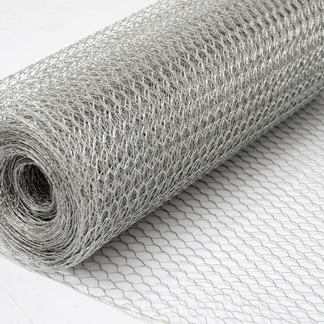 Grillage Métallique pour Cloture | Maillage Hexagonal : 13x13mm | Longueur 25m | Hauteur 50cm | Clôture pour animaux et plantes | Galvanisé 0.9mm