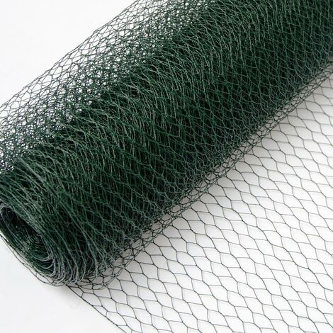 Grillage Métallique pour Cloture | Maillage Hexagonal 13x13mm | Longueur 25m | Hauteur 75cm | Clôture pour animaux et plantes | 0.8mm avec Couche en PVC Verte