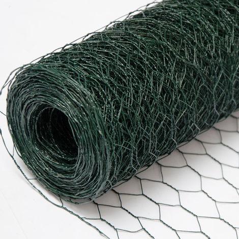 Grillage Métallique pour Cloture | Maillage Hexagonal 25x25mm | Longueur 25m | Hauteur 50cm | Clôture pour animaux et plantes | 0.9mm avec Couche en PVC Verte