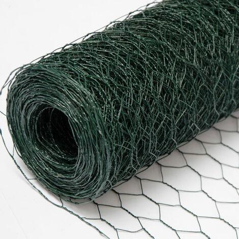 Grillage Métallique pour Cloture   Maillage Hexagonal 25x25mm   Longueur 25m   Hauteur 50cm   Clôture pour animaux et plantes   0.9mm avec Couche en PVC Verte