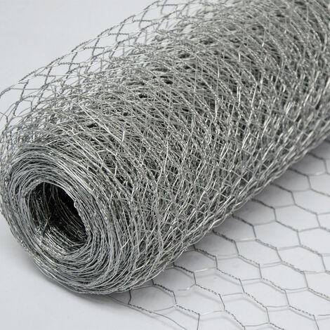 Grillage Métallique pour Cloture | Maillage Hexagonal : 25x25mm | Longueur 25m | Hauteur 50cm | Clôture pour animaux et plantes | Galvanisé 0.8mm