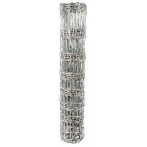 Grillage noué galvanisé à mailles rectangulaires Filiac - Hauteur 1 m - Longueur 50 m - Gris