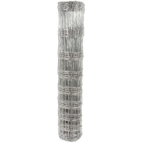 Grillage noué galvanisé à mailles rectangulaires Filiac - Hauteur 1,2 m - Longueur 50 m - Gris