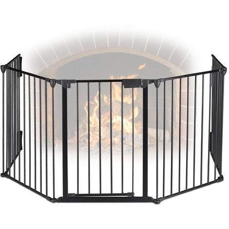 Grillage protection cheminée, 5 éléments, pour enfants, en acier, avec porte, 75 cm, noir