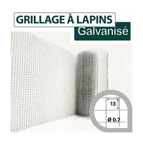 Grillage Soudé Galvanisé - Maille Carrée 13mm - Longueur 25m - 1 mètre