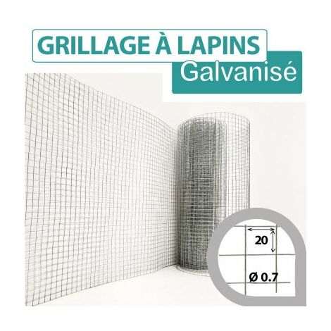 Grillage Soudé Galvanisé - Maille Carrée 20mm - Longueur 5m - 1 mètre