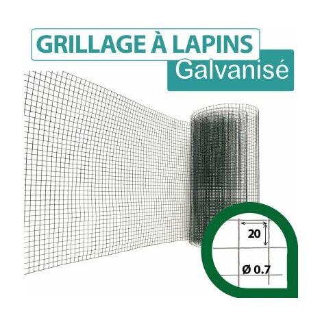 Grillage Soudé Vert - Maille Carrée 20mm - Longueur 5m - 1 mètre