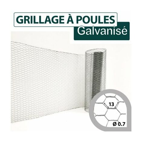 Grillage Triple Torsion Galvanisé - Maille Hexa 13mm - Longueur 25m - 0.5 metre