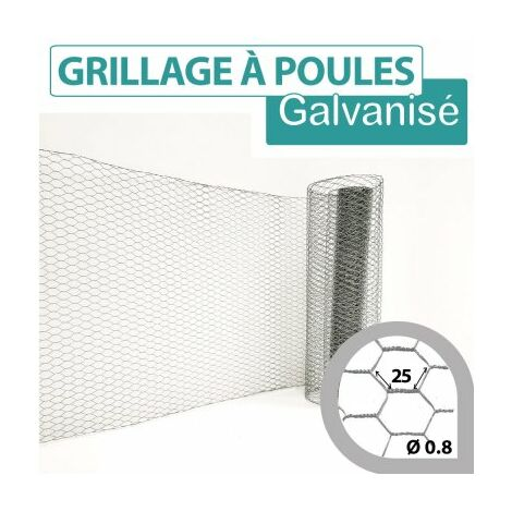 Grillage Triple Torsion Galvanisé - Maille Hexa 25mm - Longueur 10m - 1 m