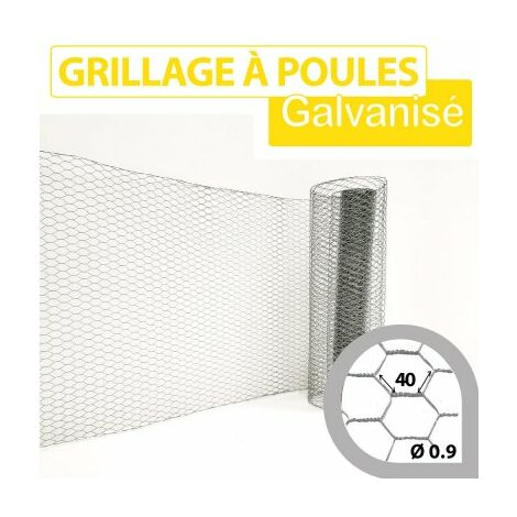 Grillage Triple Torsion Galvanisé - Maille Hexa 40mm - Longueur 25m - 0,5 mètre