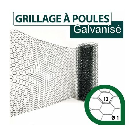 Grillage Triple Torsion Vert - Maille Hexa 13mm - Longueur 10m - 1 m