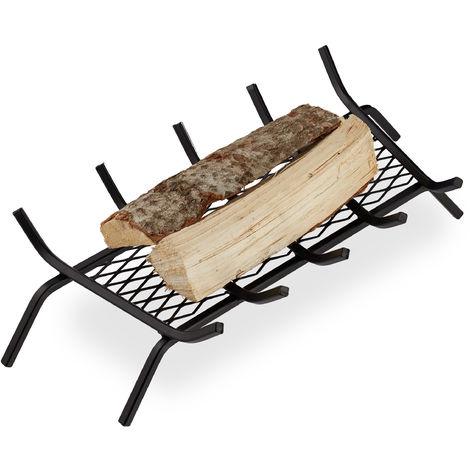 Grille à bûches acier, HxlxP 17x69x34 cm porte-bûches solide, bois de cheminée, grill, support pieds, noir