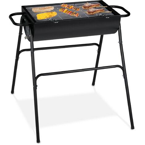 grille à charbon, Barbecue de charbon debout, Jardin, grillage rectangulaire; grillage avec poignée; HlP 8