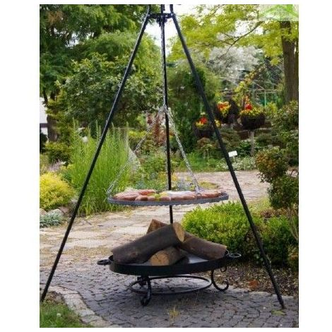 Grille acier noir sur trépied + Brasero de jardin MALTA