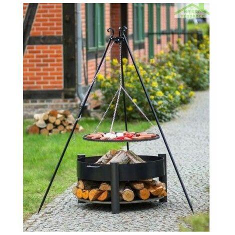 Grille barbecue sur trépied + Brasero avec range bois SOLAFA