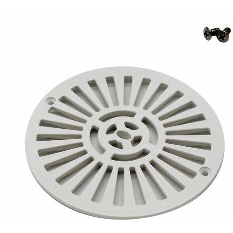 Grille bonde de fond ronde avec vis pour piscine béton - Diam 17,5 cm - Blanc - Astral