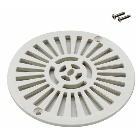 Grille bonde de fond ronde avec vis pour piscine liner - Diam 17,7 cm - Blanc - Astral
