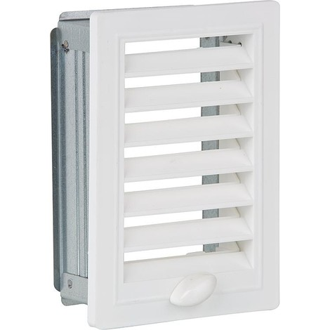 Grille d aeration et cadre de montage, reglable 150 mm x 150 mm plastique blanc