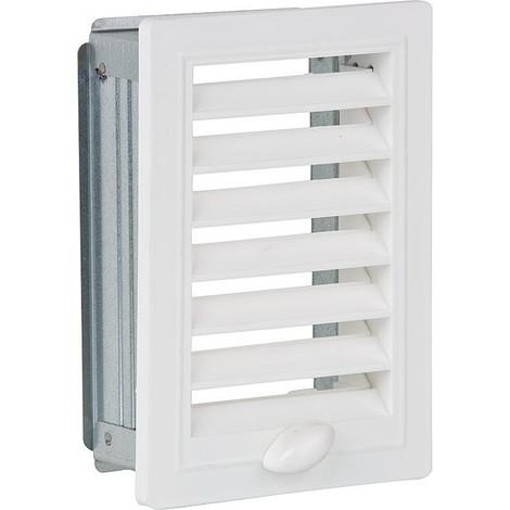 Grille d aeration et cadre de montage, reglable 150 mm x 200 mm plastique blanc