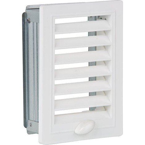 Grille d aeration et cadre de montage, reglable 200 mm x 200 mm plastique blanc