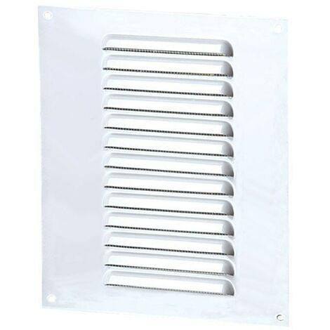 Grille d\'aération 150x210mm aluminium blanc avec écran anti-insecte de Winflex