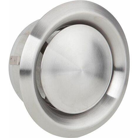 Grille d'aération et d'extraction V2A - Raccord diam 100. Diam ext 140 valve inox