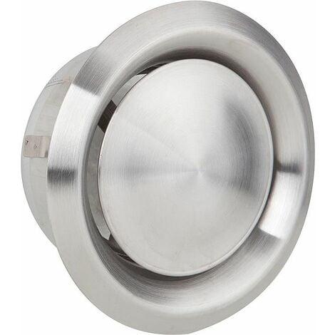 Grille d'aération et d'extraction V2A raccord diam125. Diam ext 170 valve inox