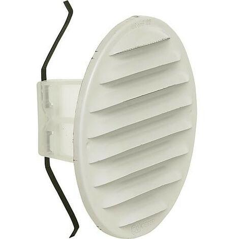 Grille d'aération ronde LGR 100w dim ext 130 mm / Diamètre nominal 100-125 /Métal blanc laqué
