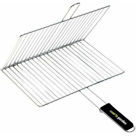 Grille de barbecue double rectangulaire 40 x 30 cm