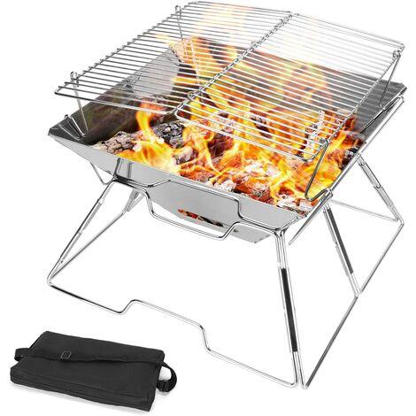 Grille de Barbecue pliable en Acier Inoxydable, Grille résistante et pliante avec sac de transport pour feu de camp, Voyage, Camping, randonnée, Festival