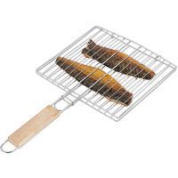 Grille de cuisson poisson barbecue 40 cm, acier, grill, poignée bois, double grille viande, argenté