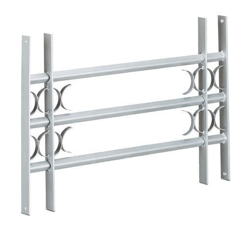 Grille de fenêtre défense protection cambriolage acier galvanisé 450 x 700-1050 mm, gris