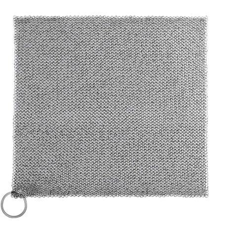 Grille de nettoyage de la fonte Premium 316 en acier inoxydable petits anneaux avec ouverture de 3,8 mm cotte de mailles pour les poêles en fonte pré-saison four hollandais gaufrier poêle à frire, 17.78*17.78cm