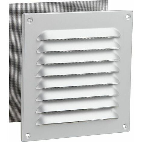 Grille de protection contre les intemperies en alu, blanc 150x150 mm protection anti-insectes, vis et chevill