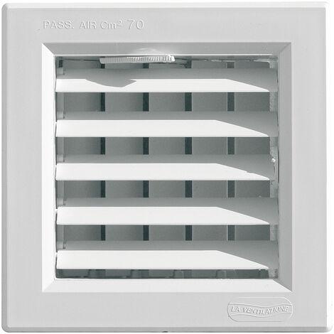 Grille de ventilation à ailettes orientables ext:140x140mm