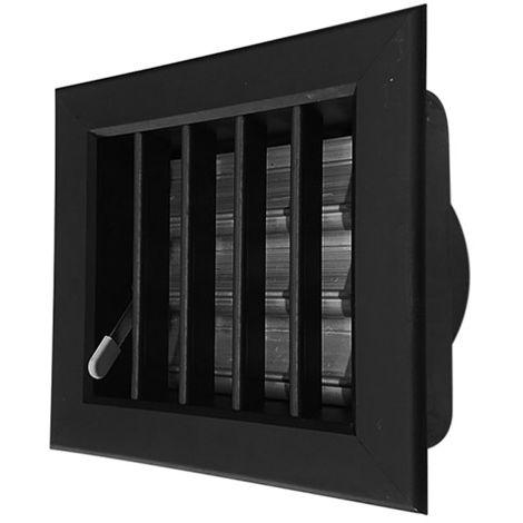 Grille de ventilation noire 140x130 mm entrée 80 mm.