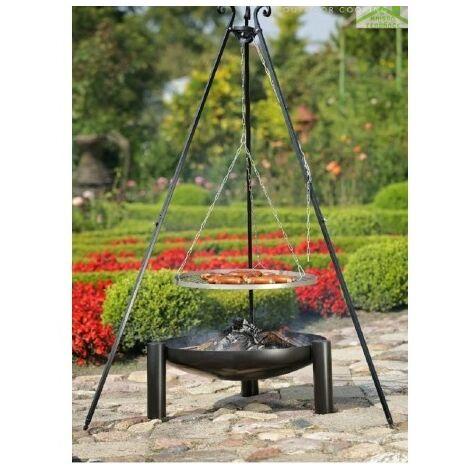 Grille en acier noir sur trépied + Brasero de jardin PALMA