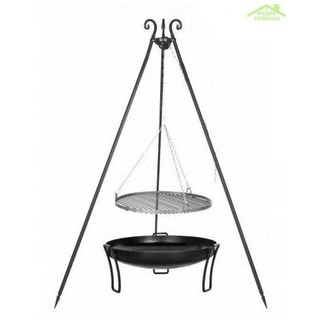 Grille en acier noir sur trépied + Brasero de jardin PAN