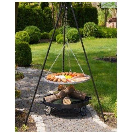 Grille en inoxydable sur trépied + Brasero de jardin MALTA