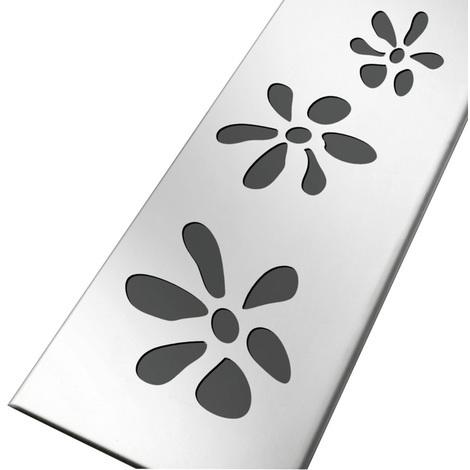 Grille inox 304 motifs fleurs pour caniveau KGSICAN
