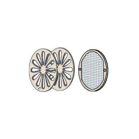 Grille ronde à encastrer avec moustiquaire - Extérieur Ø128 - Tube Ø100 - First Plast