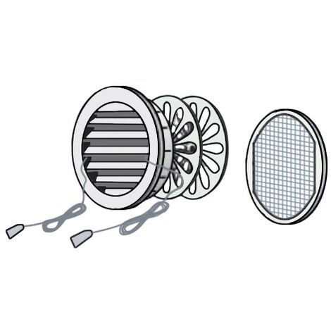 Grille ronde à encastrer, fermeture à distance et moustiquaire - Extérieur Ø120 - Tube Ø100 - Sable - First Plast