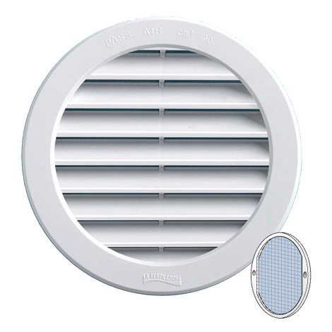 Grille ventilation PVC + moustiquaire - ExtØ120mm -Tube 100mm