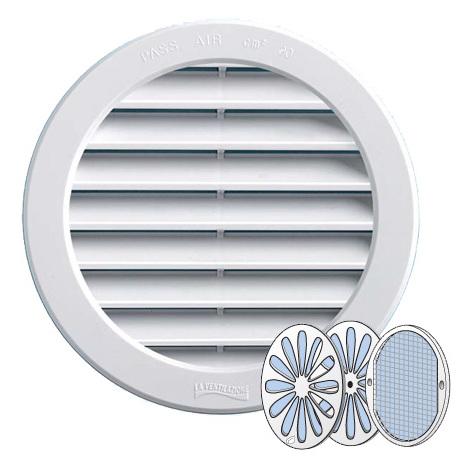Grille ventilation PVC + moustiquaire + fermeture