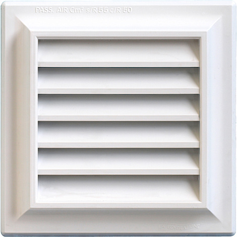 Grille ventilation PVC traditionnelle 140x140mm