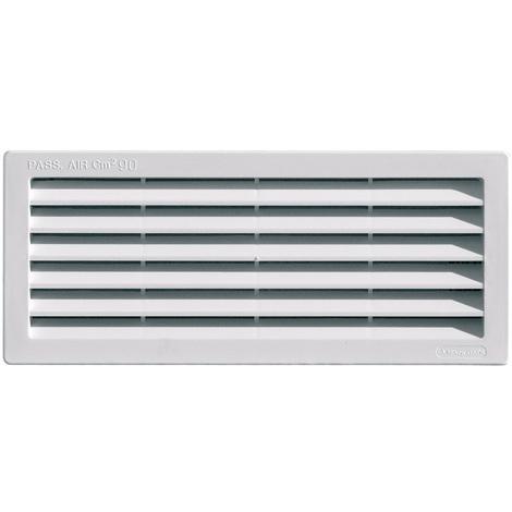 Grille ventilation rectangulaire PVC à encastrer - 108x254mm